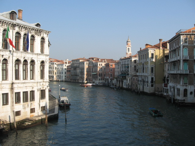 grand canal in venice italy from the rialto bridge