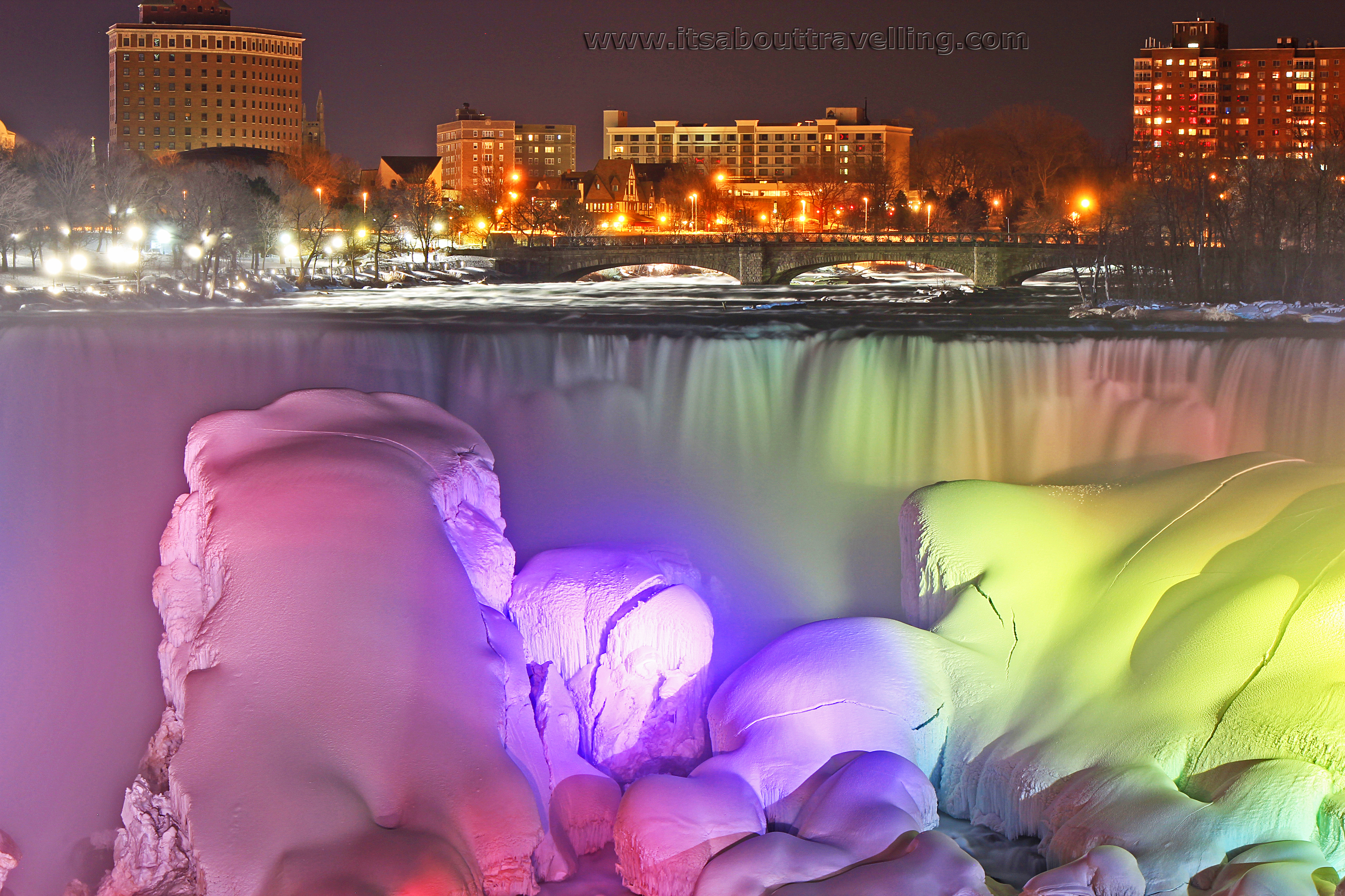 Niagara Falls A Winter Night Illuminated With Colour