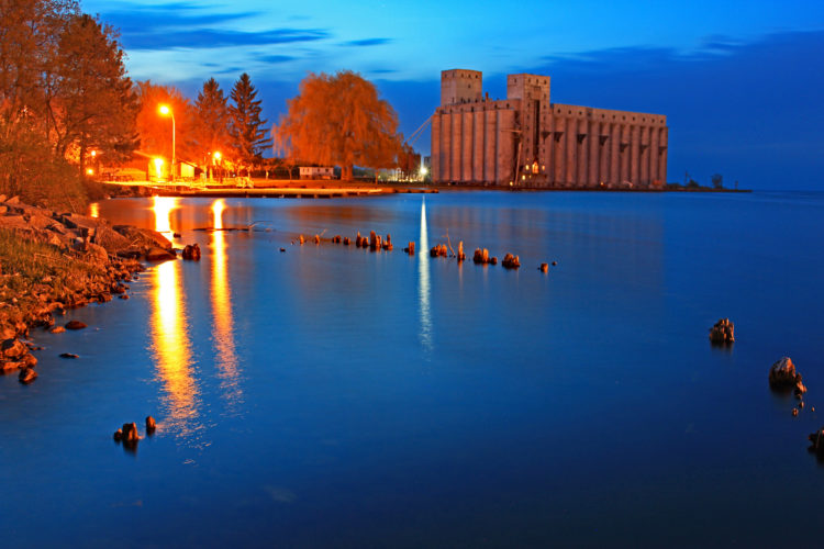 owen sound ontario harbour night image