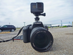 gopro and dslr attached with hot shoe adapter
